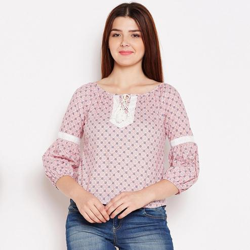Imposing Pink Colored Casual Wear Geomatric Printed Cotton Top
