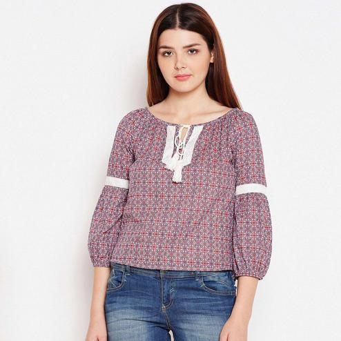 Lovely Purple Color Casual Wear Printed Cotton Top