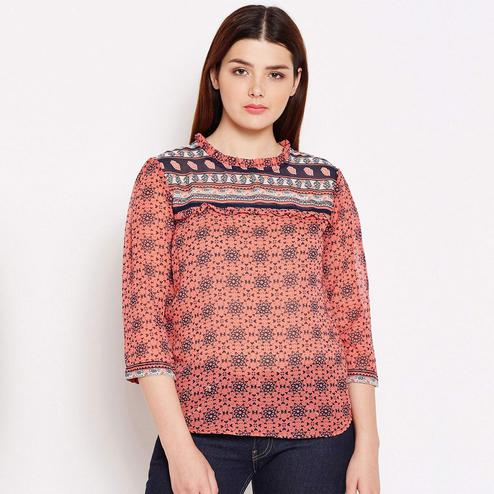Majesty Peach Colored Casual Wear Printed Georgette Top