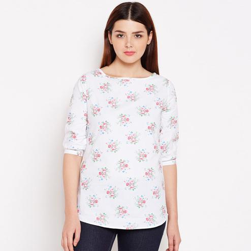 Impressive White Colored Casual Wear Floral Printed Cotton Top