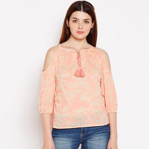 Ethnic Peach Colored Casual Wear Floral Printed Tie-up Cotton Top