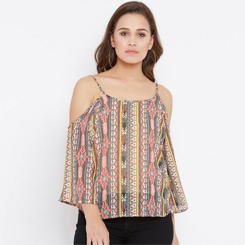 Sophisticated Multicolor Casual Wear Floral Printed A line Georgette Top