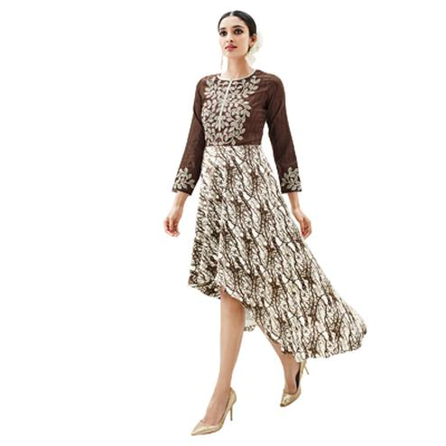 Brown - White Asymmetrical Embroidered Kurti