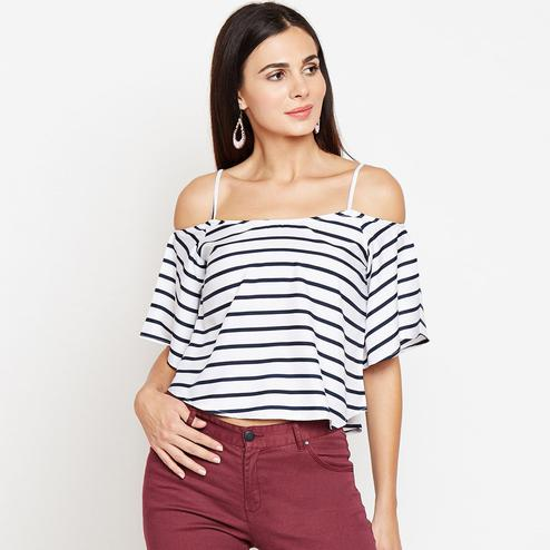 White Colored Casual Wear Stripe Printed Crepe Top