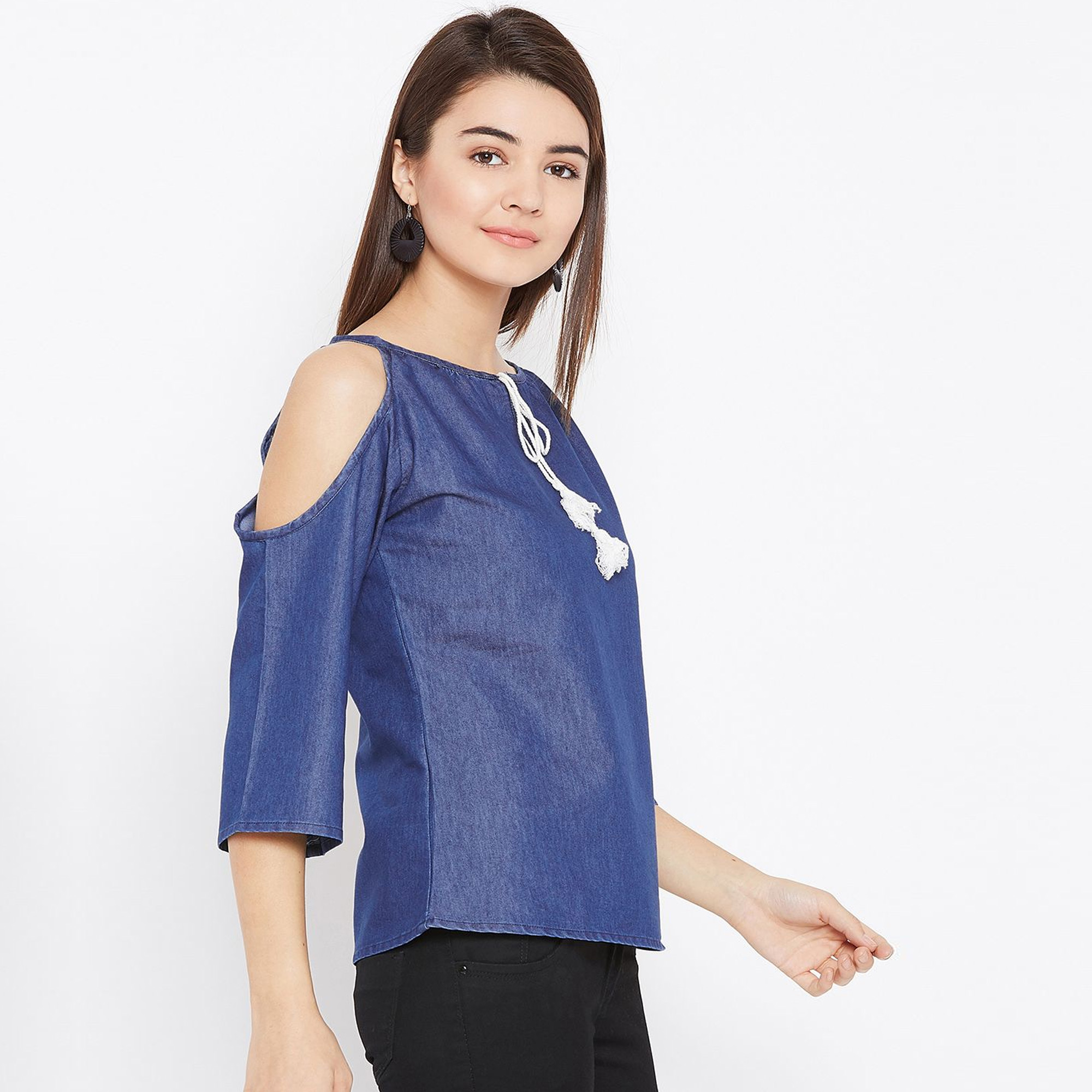 Flamboyant Blue Colored Casual Wear Plain Denim Top