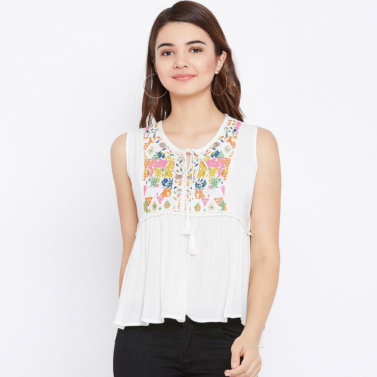 Sensational White Colored Casual Wear Embroidered Rayon Top
