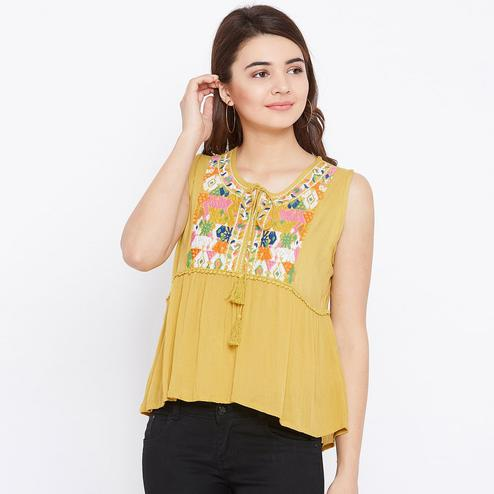 Flaunt Mustard Colored Casual Wear Embroidered Rayon Top