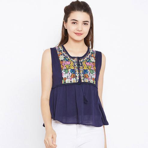 Flirty Navy Blue Colored Casual Wear Embroidered Rayon Top