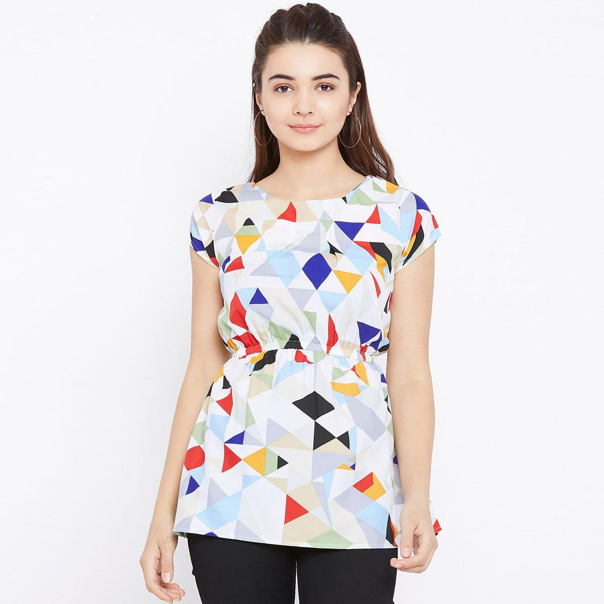 Appealing White and Multicolor Casual Wear Geomatric Printed Crepe Top