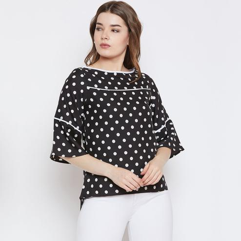 Innovative Black Colored Casual Wear Polka Dot Print Bell Sleeve Crepe Top