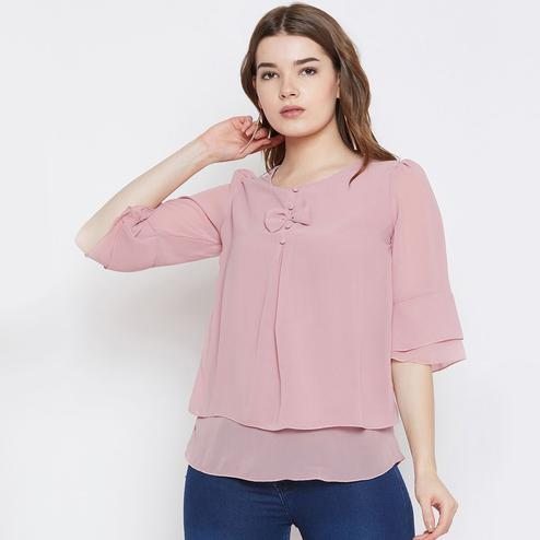 Eye-catching Pink Colored Casual Wear Plain Georgette Top