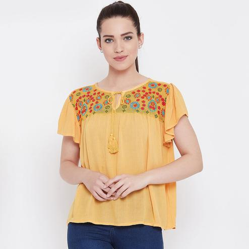 Fantastic Light Orange Color Casual Wear Embroidered Viscose-Rayon Top