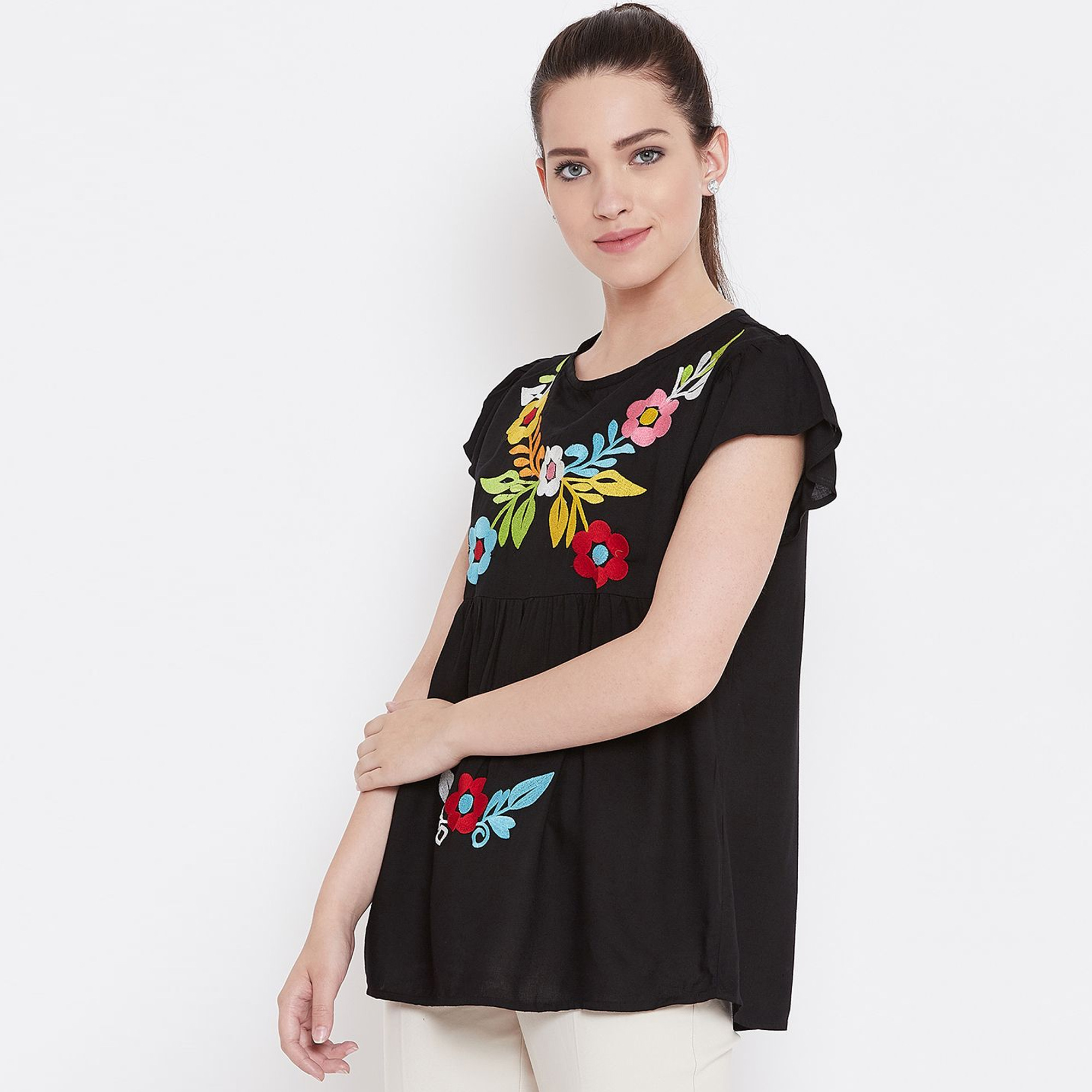 Majesty Black Color Casual Wear Embroidered Rayon Top