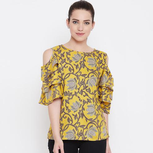 Mesmerising Mustard Color Casual Wear Floral Printed Rayon Top