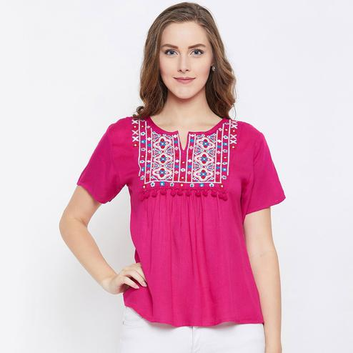 Staring Pink Color Casual Wear Embroidered Rayon Top