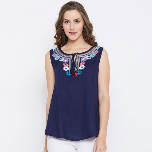 Arresting Navy Blue Color Casual Wear Embroidered Tie-up Rayon Top