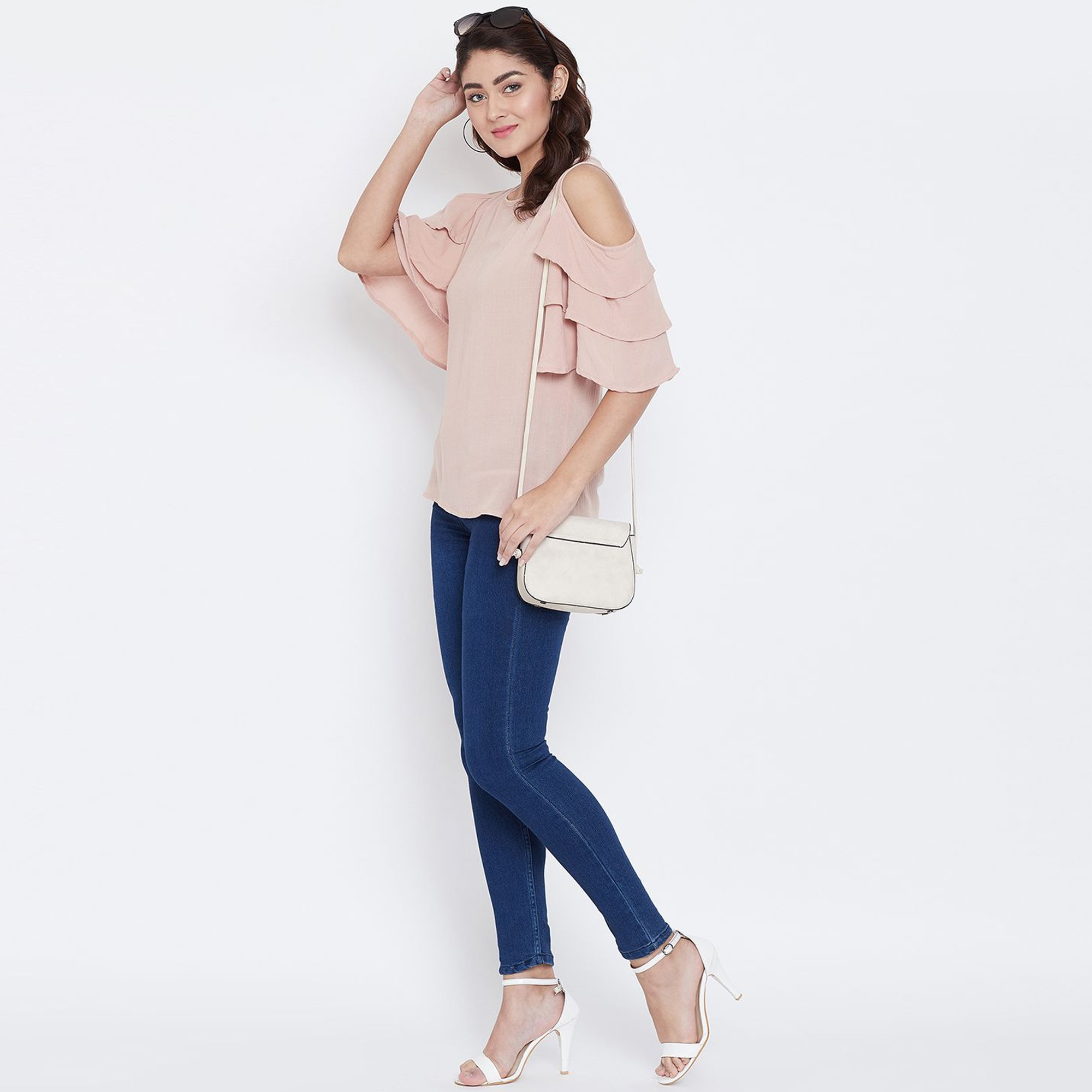 Elegant Peach Color Casual Wear Cold Shoulder & Bell Sleeve Rayon Top
