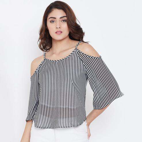 Radiant Off White-Black Color Casual Wear Stripe Printed Cotton Lining Georgette Top