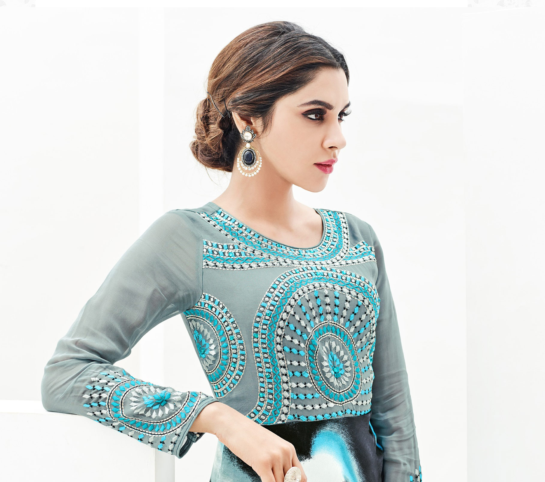 Multicolored Print & Embroidered Work Kurti