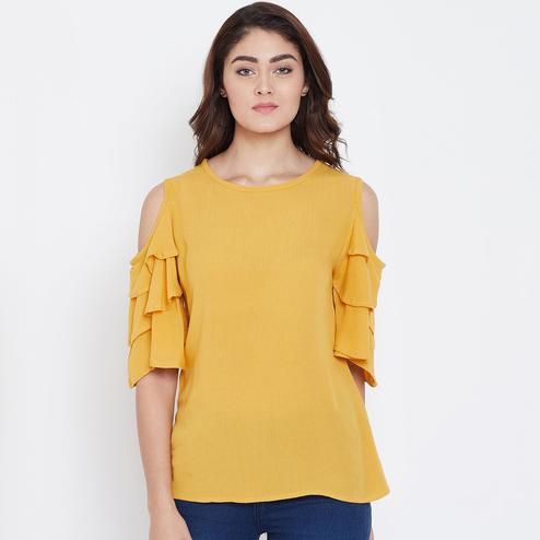 Pleasant Mustard Color Casual Wear Cold Shoulder & Bell Sleeve Rayon Top