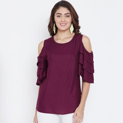 Energetic Maroon Color Casual Wear Cold Shoulder & Bell Sleeve Rayon Top