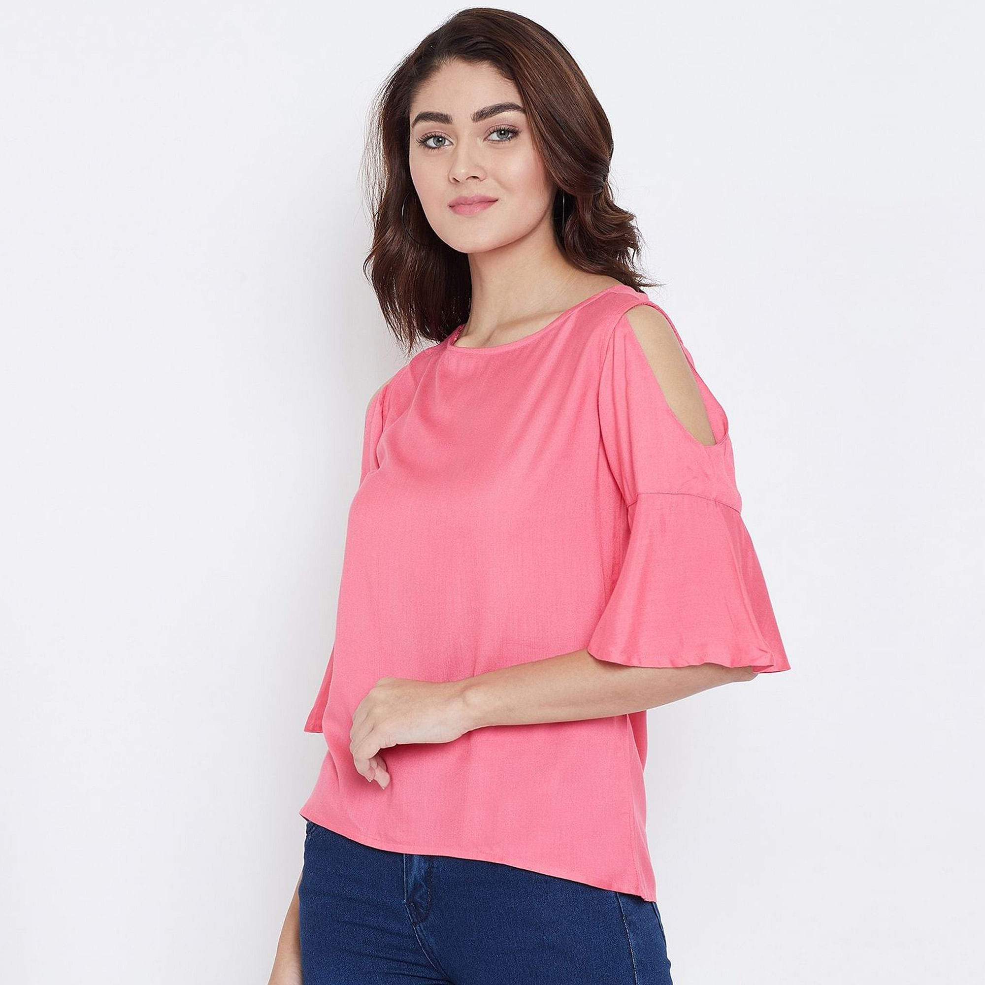 Glowing Pink Color Casual Wear Cold Shoulder & Bell Sleeve Rayon Top
