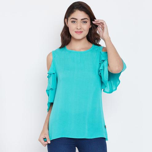 Exceptional Turquoise Color Casual Wear Cold Shoulder & Bell Sleeve Rayon Top