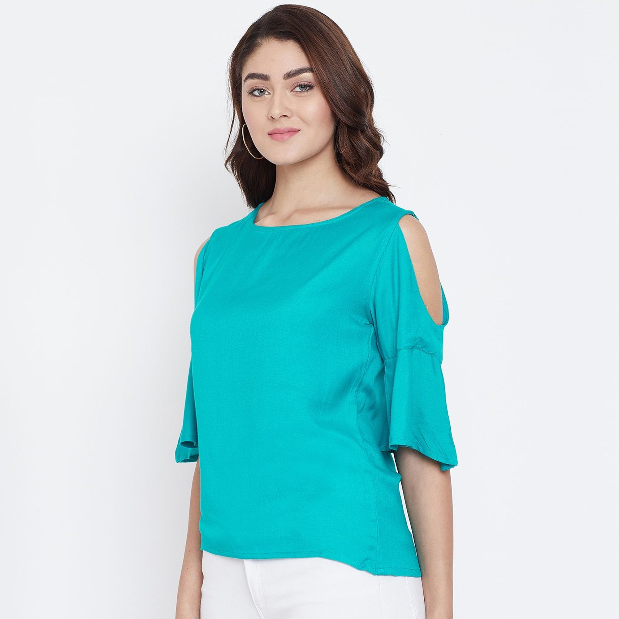 Gleaming Turquoise Color Casual Wear Cold Shoulder & Bell Sleeve Rayon Top