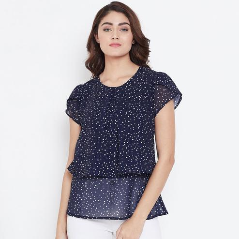 Demanding Navy Blue Color Casual Wear Printed Georgette Top