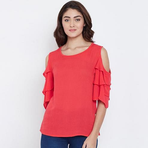 Refreshing Red Color Casual Wear Cold Shoulder Rayon Top