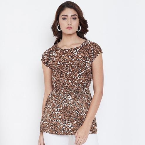 Hypnotic Brown Color Casual Wear Printed Crepe Top