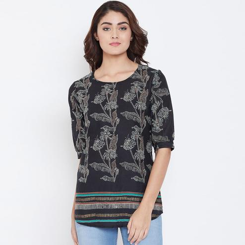 Preferable Black Color Casual Wear Floral Printed Cotton Top