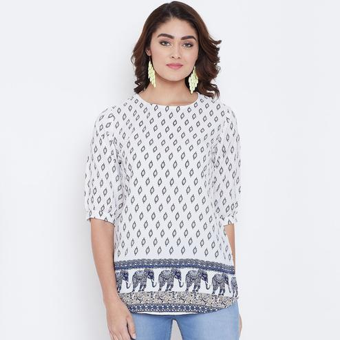 Marvellous White Colored Casual Wear Printed Crepe Top