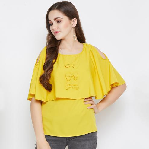 Classy Mustard Yellow Colored Casual Wear Plain Crepe Top