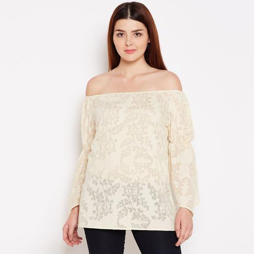 Blissful Beige Color Casual Wear Floral Printed Off Shoulder Cotton Top