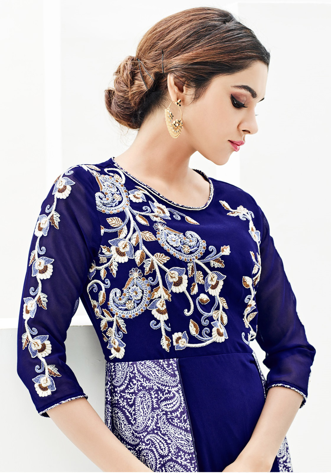 Dark Blue Party Wear Kurti