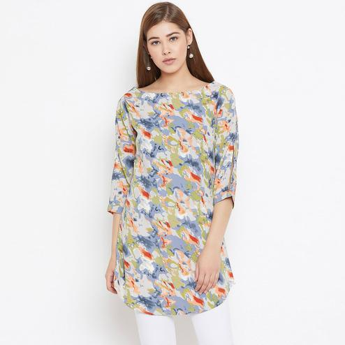 Exclusive Multicolor Casual Wear Floral Printed Crepe Tunic