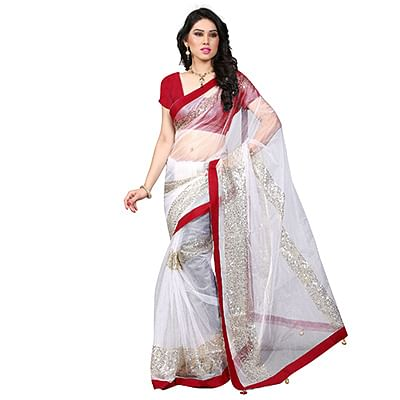 White Embroidered Sequins Work Saree