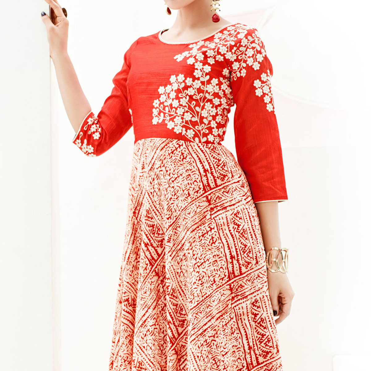 Red Print & Embroidered Work C Cut Kurti