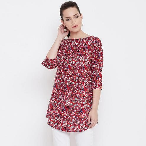 Imposing Red Color Casual Wear Floral Printed Rayon Tunic