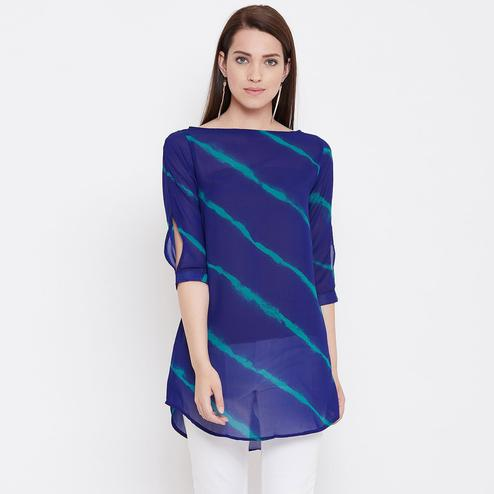 Pleasance Blue Color Casual Wear Printed Georgette Tunic