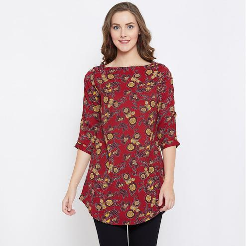 Surpassing Maroon Colored Casual Wear Floral Printed Georgette Tunic
