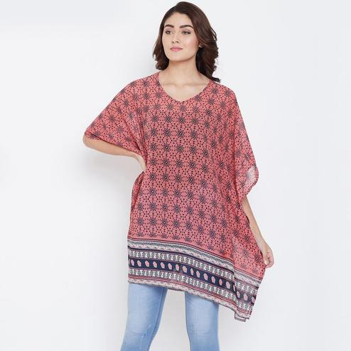 Desirable Peach Color Casual Wear Abstract Printed Cotton Tunic