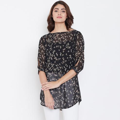Trendy Black Color Casual Wear Floral Printed Georgette Tunic
