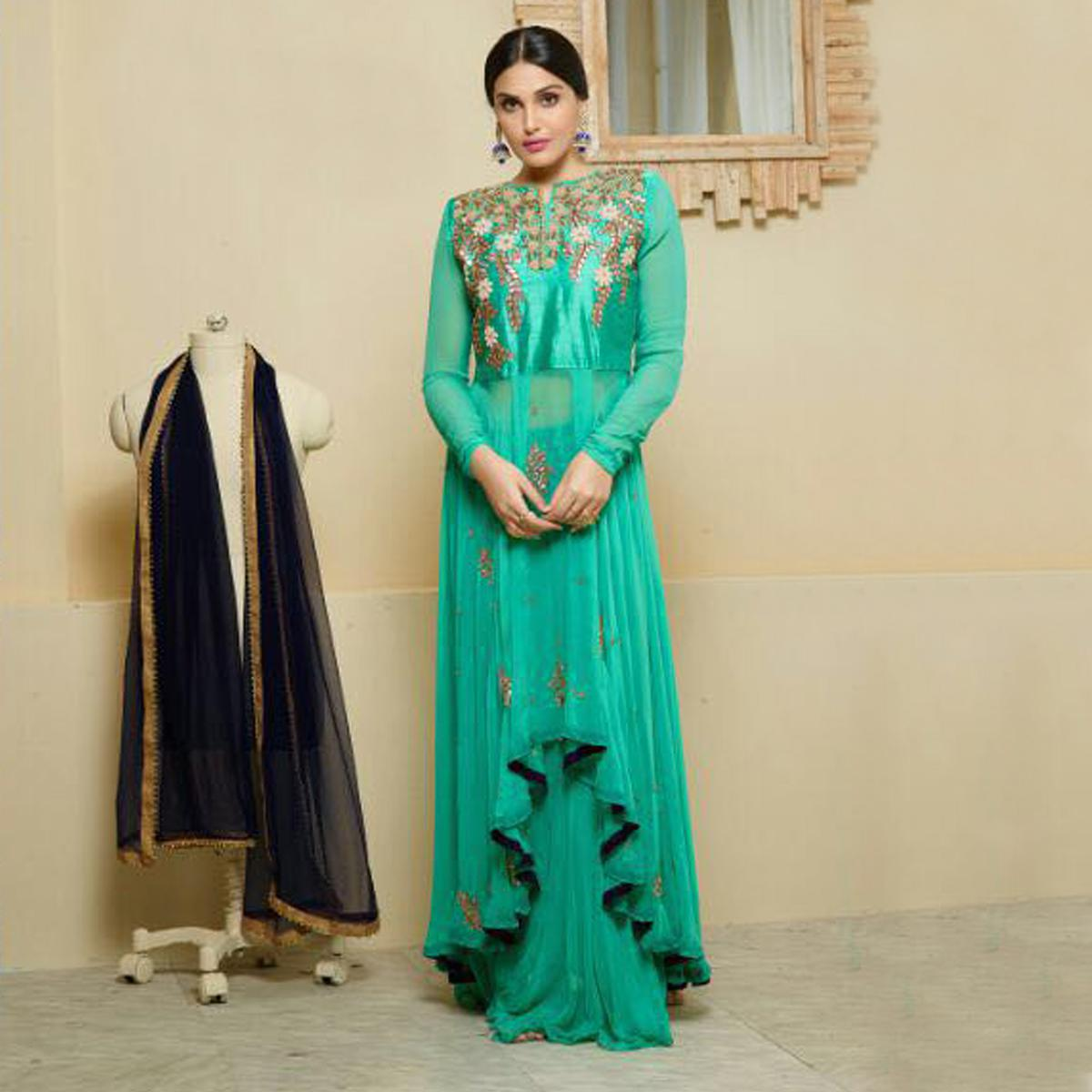 Buy Sea Green Party Wear Georgette Suit for womens online India ...