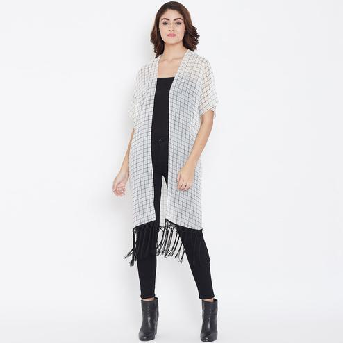 Excellent White Color Casual Wear Check Printed Georgette Shrugs