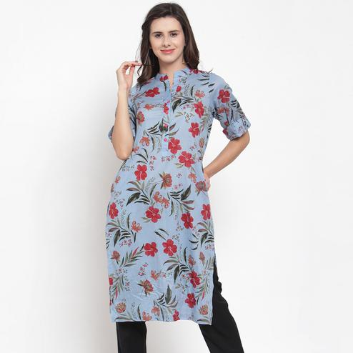 Adorable Sky Blue Colored Casual Wear Floral Printed Cotton Kurti