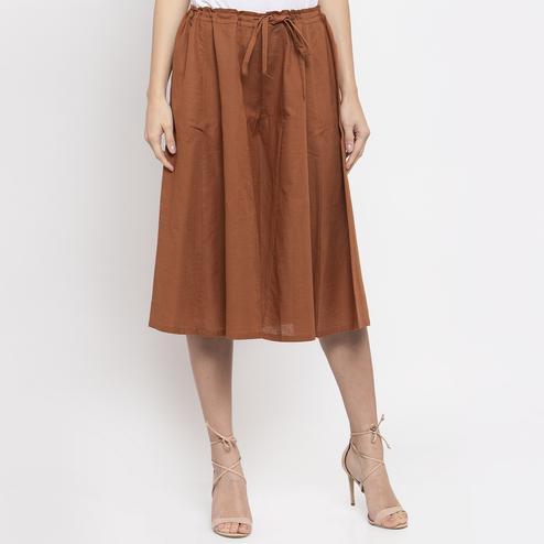 Pleasant Brown Colored Casual Wear Cotton Flared Culotte Pant