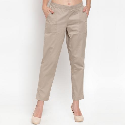 Engrossing Beige Colored Casual Wear Cotton Pant