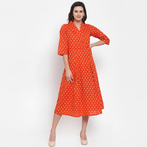 Gleaming Orange Colored Casual Wear Printed Cotton Western Dress